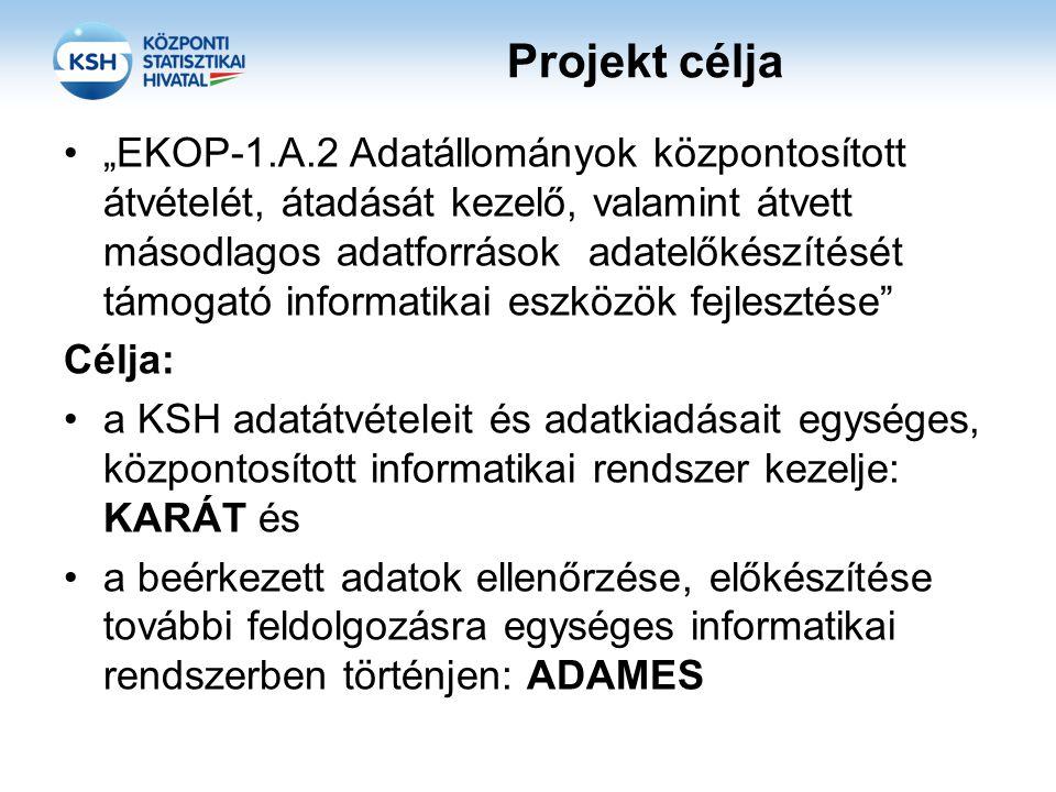 """Projekt célja """"EKOP-1.A.2 Adatállományok központosított átvételét, átadását kezelő, valamint átvett másodlagos adatforrások adatelőkészítését támogató informatikai eszközök fejlesztése Célja: a KSH adatátvételeit és adatkiadásait egységes, központosított informatikai rendszer kezelje: KARÁT és a beérkezett adatok ellenőrzése, előkészítése további feldolgozásra egységes informatikai rendszerben történjen: ADAMES"""