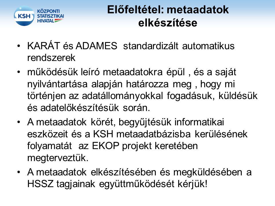 Előfeltétel: metaadatok elkészítése KARÁT és ADAMES standardizált automatikus rendszerek működésük leíró metaadatokra épül, és a saját nyilvántartása alapján határozza meg, hogy mi történjen az adatállományokkal fogadásuk, küldésük és adatelőkészítésük során.