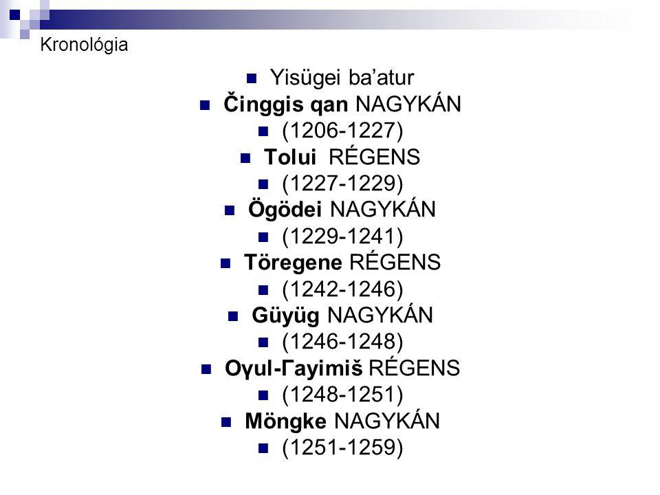 Kronológia Yisügei ba'atur Činggis qan NAGYKÁN (1206-1227) Tolui RÉGENS (1227-1229) Ögödei NAGYKÁN (1229-1241) Töregene RÉGENS (1242-1246) Güyüg NAGYKÁN (1246-1248) Oγul-Γayimiš RÉGENS (1248-1251) Möngke NAGYKÁN (1251-1259)