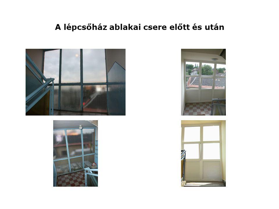 A lépcsőház ablakai csere előtt és után