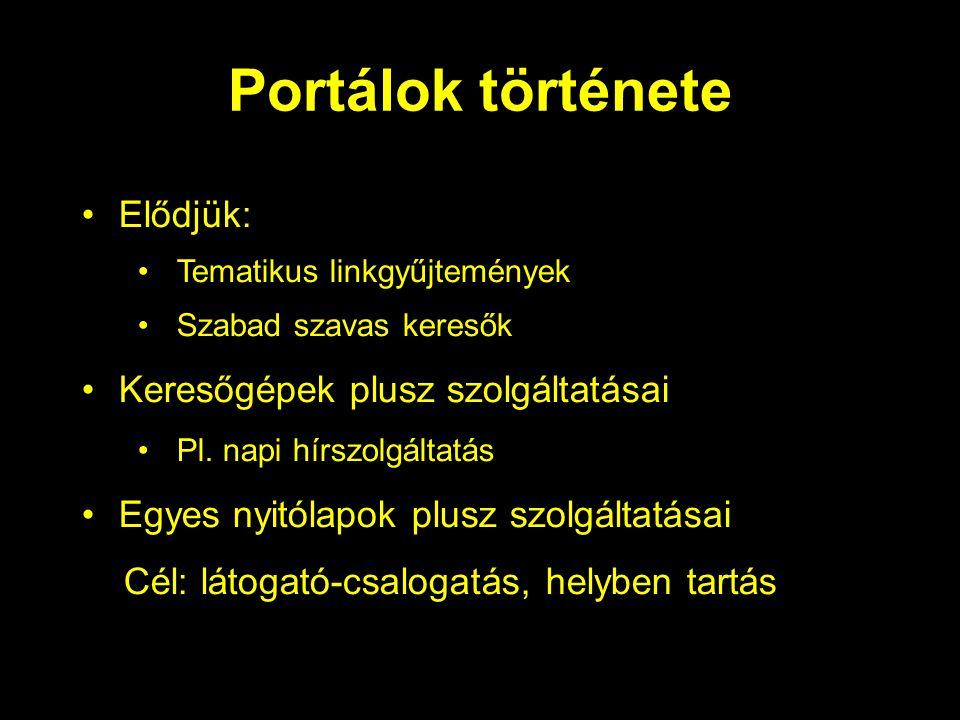 Portálok története Elődjük: Tematikus linkgyűjtemények Szabad szavas keresők Keresőgépek plusz szolgáltatásai Pl.