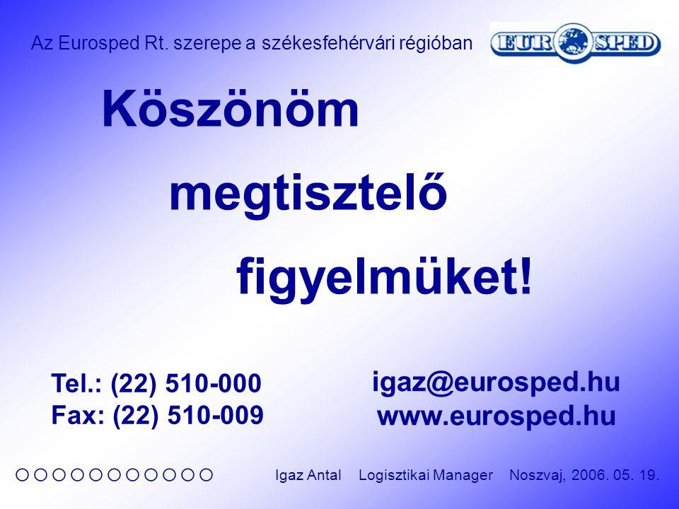 Az Eurosped Rt. szerepe a székesfehérvári régióban ○○○○○○○○○○○ Igaz Antal Logisztikai Manager Noszvaj, 2006. 05. 19. Köszönöm megtisztelő figyelmüket!