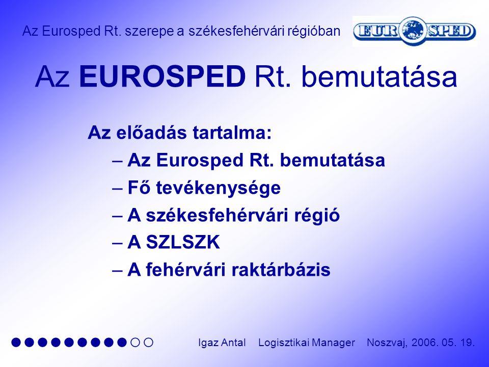 Az Eurosped Rt. szerepe a székesfehérvári régióban ●●●●●●●●●○○ Igaz Antal Logisztikai Manager Noszvaj, 2006. 05. 19. Az EUROSPED Rt. bemutatása Az elő