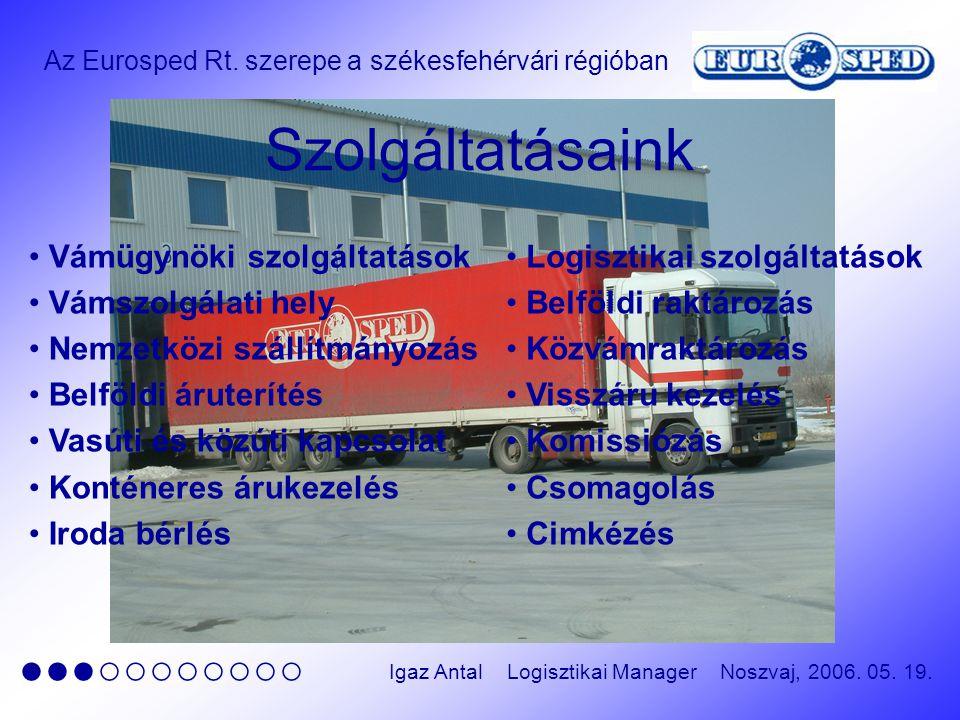 Az Eurosped Rt. szerepe a székesfehérvári régióban ●●●○○○○○○○○ Igaz Antal Logisztikai Manager Noszvaj, 2006. 05. 19. Szolgáltatásaink Vámügynöki szolg