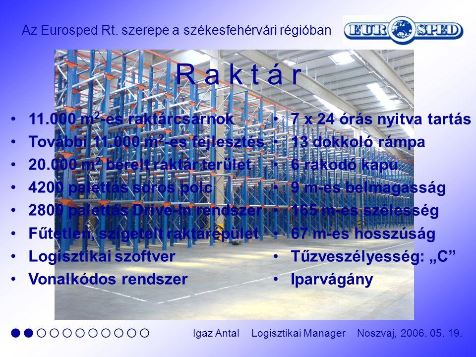 Az Eurosped Rt. szerepe a székesfehérvári régióban ●●○○○○○○○○○ Igaz Antal Logisztikai Manager Noszvaj, 2006. 05. 19. R a k t á r 11.000 m 2 -es raktár