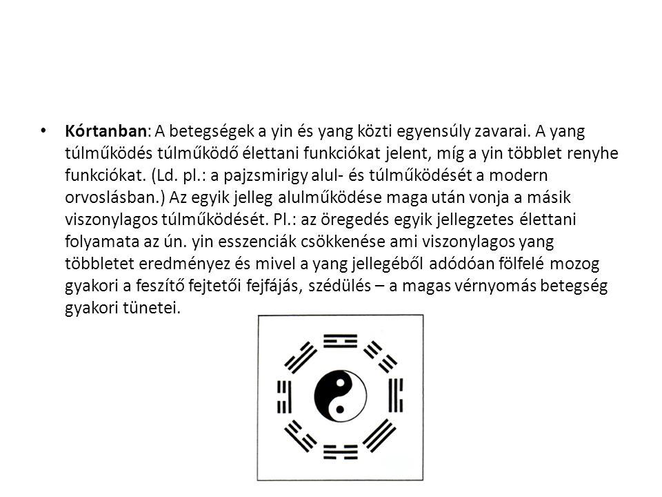 Kórtanban: A betegségek a yin és yang közti egyensúly zavarai. A yang túlműködés túlműködő élettani funkciókat jelent, míg a yin többlet renyhe funkci