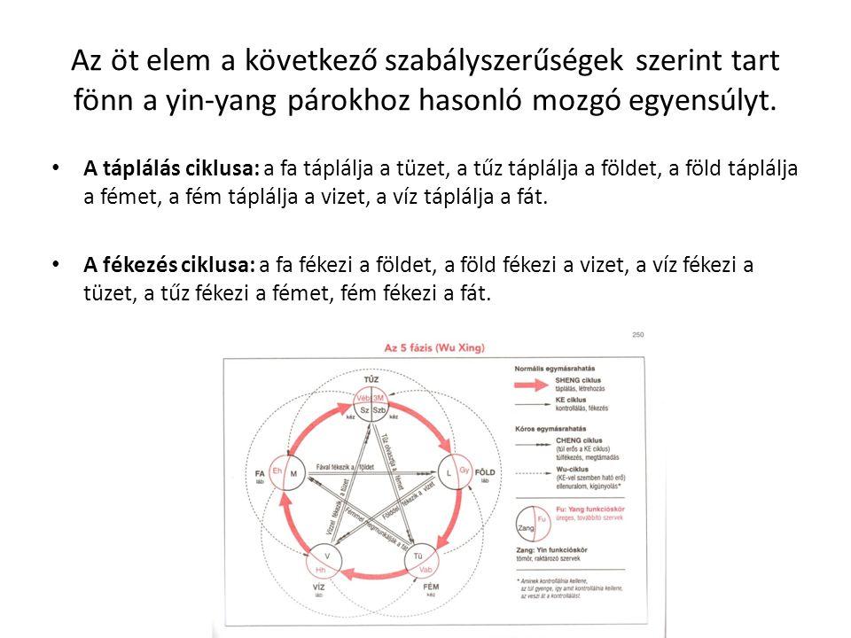 Az öt elem a következő szabályszerűségek szerint tart fönn a yin-yang párokhoz hasonló mozgó egyensúlyt. A táplálás ciklusa: a fa táplálja a tüzet, a