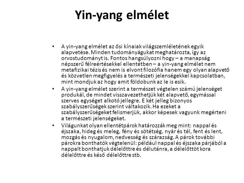 Yin-yang elmélet A yin-yang elmélet az ősi kínaiak világszemléletének egyik alapvetése. Minden tudományágukat meghatározta, így az orvostudományt is.