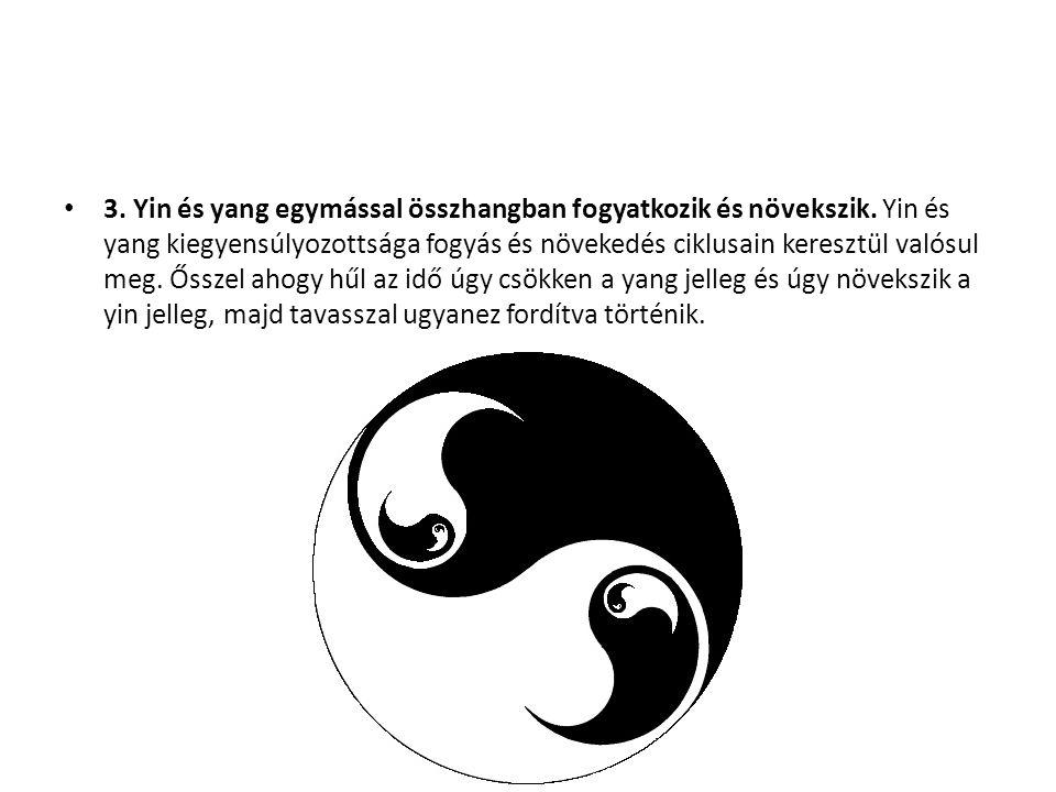 3. Yin és yang egymással összhangban fogyatkozik és növekszik. Yin és yang kiegyensúlyozottsága fogyás és növekedés ciklusain keresztül valósul meg. Ő