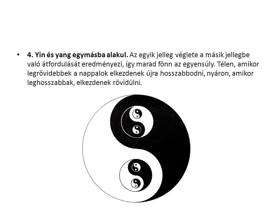 4. Yin és yang egymásba alakul. Az egyik jelleg véglete a másik jellegbe való átfordulását eredményezi, így marad fönn az egyensúly. Télen, amikor leg