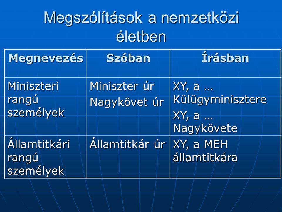 Megszólítások a nemzetközi életben MegnevezésSzóbanÍrásban Miniszteri rangú személyek Miniszter úr Nagykövet úr XY, a … Külügyminisztere XY, a … Nagyk
