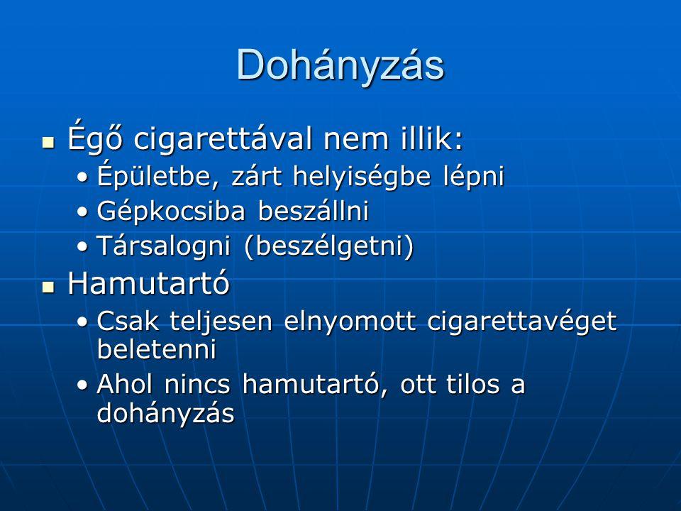 Dohányzás Égő cigarettával nem illik: Égő cigarettával nem illik: Épületbe, zárt helyiségbe lépniÉpületbe, zárt helyiségbe lépni Gépkocsiba beszállniG