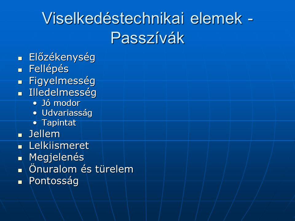 Viselkedéstechnikai elemek - Passzívák Előzékenység Előzékenység Fellépés Fellépés Figyelmesség Figyelmesség Illedelmesség Illedelmesség Jó modorJó mo