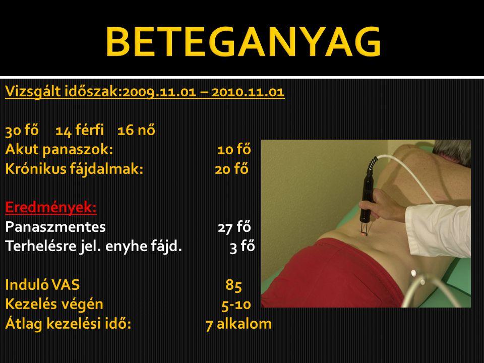 Vizsgált időszak:2009.11.01 – 2010.11.01 30 fő 14 férfi 16 nő Akut panaszok: 10 fő Krónikus fájdalmak: 20 fő Eredmények: Panaszmentes 27 fő Terhelésre jel.