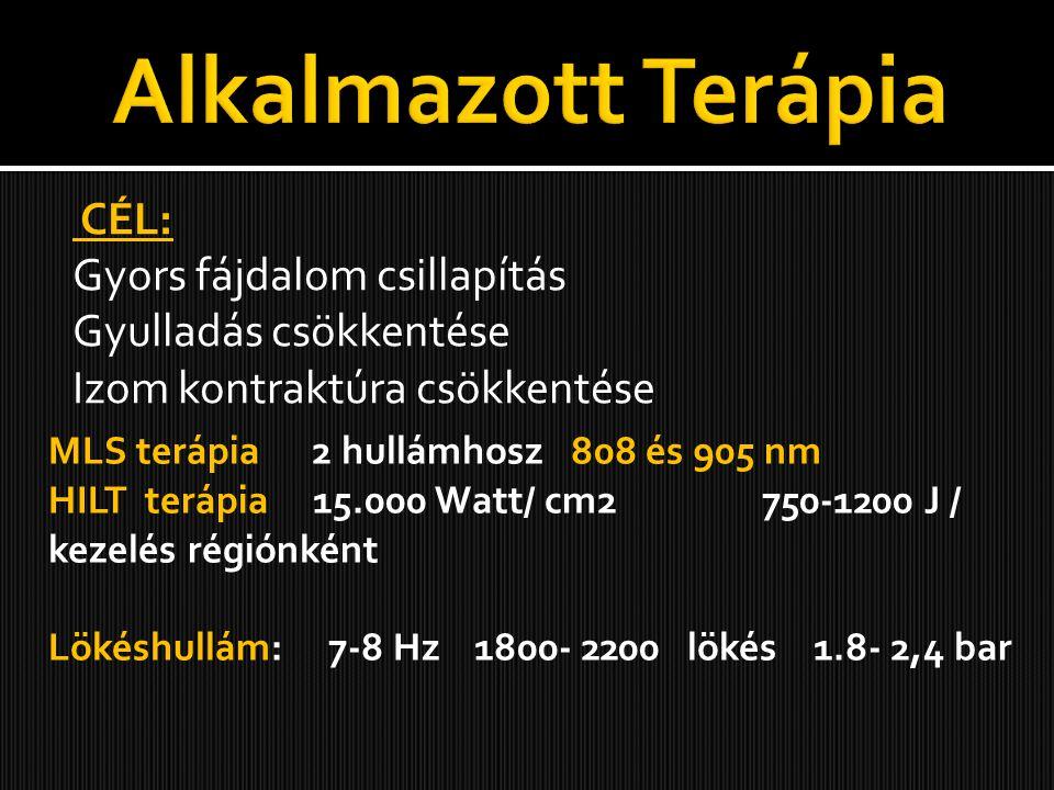 CÉL: Gyors fájdalom csillapítás Gyulladás csökkentése Izom kontraktúra csökkentése MLS terápia 2 hullámhosz 808 és 905 nm HILT terápia 15.000 Watt/ cm2 750-1200 J / kezelés régiónként Lökéshullám: 7-8 Hz 1800- 2200 lökés 1.8- 2,4 bar