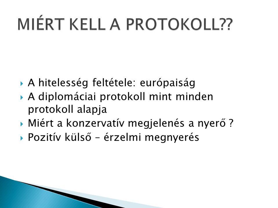  A hitelesség feltétele: európaiság  A diplomáciai protokoll mint minden protokoll alapja  Miért a konzervatív megjelenés a nyerő ?  Pozitív külső
