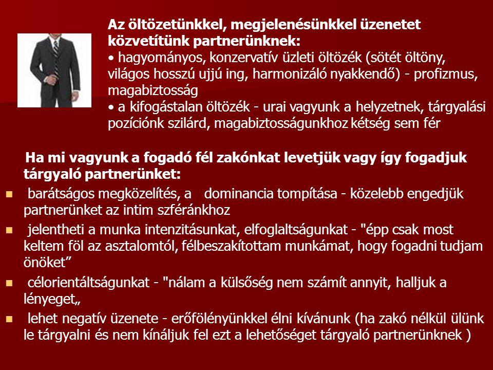 Az öltözetünkkel, megjelenésünkkel üzenetet közvetítünk partnerünknek: hagyományos, konzervatív üzleti öltözék (sötét öltöny, világos hosszú ujjú ing,