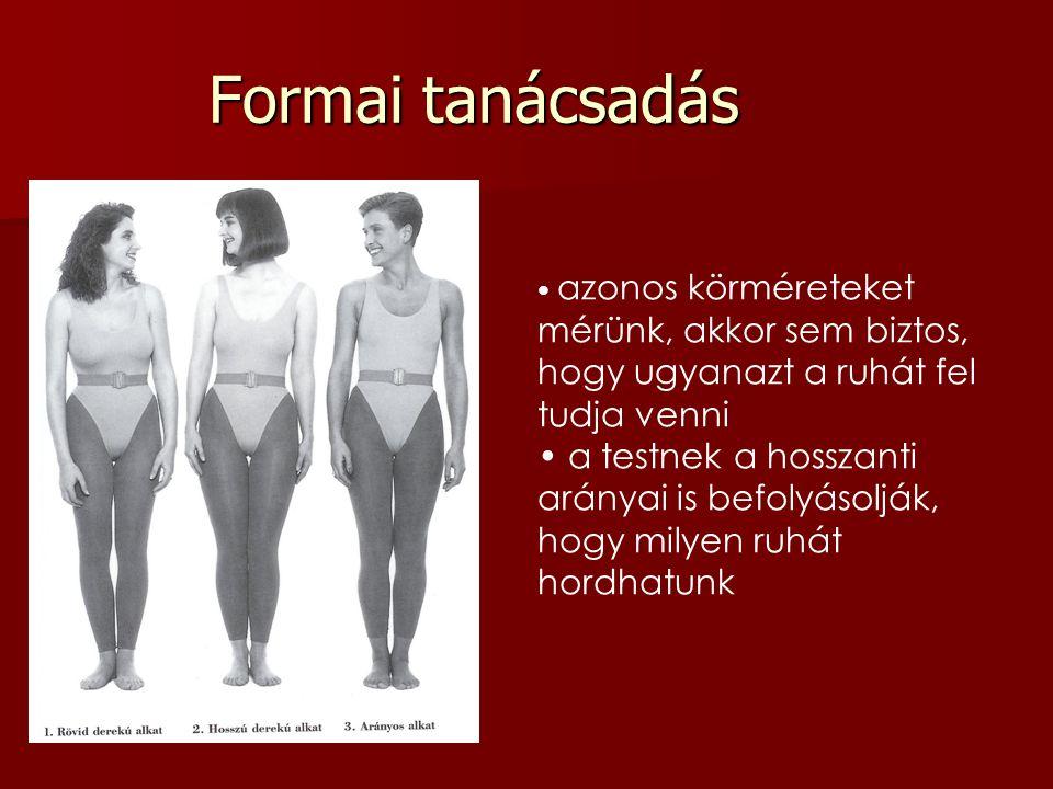 azonos körméreteket mérünk, akkor sem biztos, hogy ugyanazt a ruhát fel tudja venni a testnek a hosszanti arányai is befolyásolják, hogy milyen ruhát