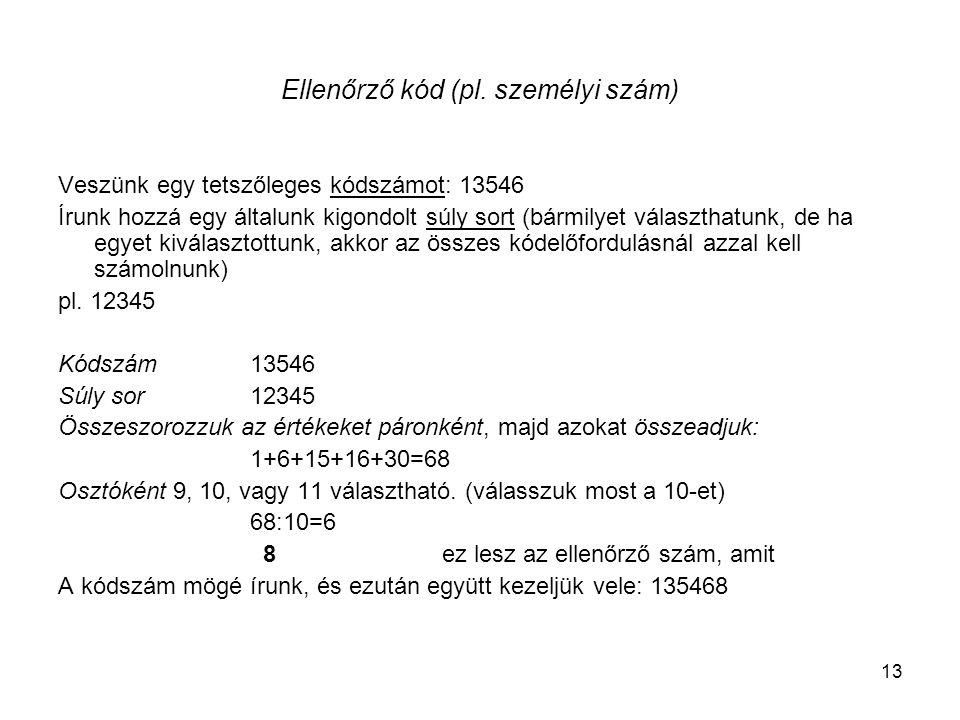 13 Ellenőrző kód (pl. személyi szám) Veszünk egy tetszőleges kódszámot: 13546 Írunk hozzá egy általunk kigondolt súly sort (bármilyet választhatunk, d