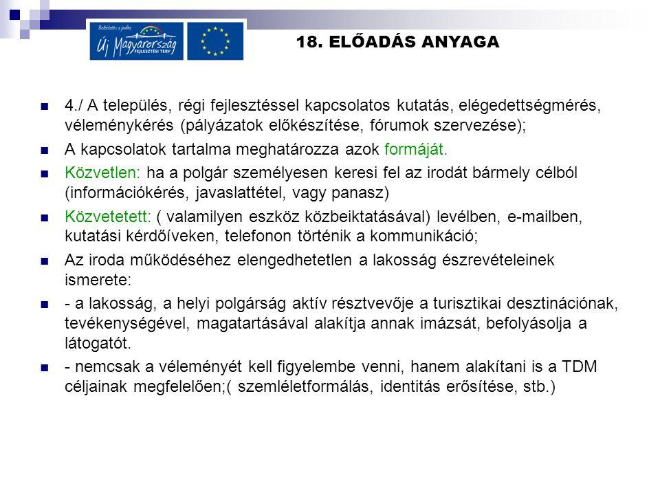 18. ELŐADÁS ANYAGA 4./ A település, régi fejlesztéssel kapcsolatos kutatás, elégedettségmérés, véleménykérés (pályázatok előkészítése, fórumok szervez