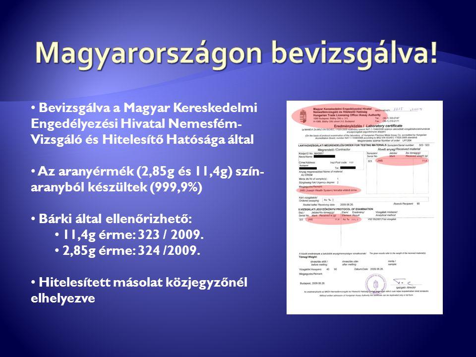 Bevizsgálva a Magyar Kereskedelmi Engedélyezési Hivatal Nemesfém- Vizsgáló és Hitelesítő Hatósága által Az aranyérmék (2,85g és 11,4g) szín- aranyból