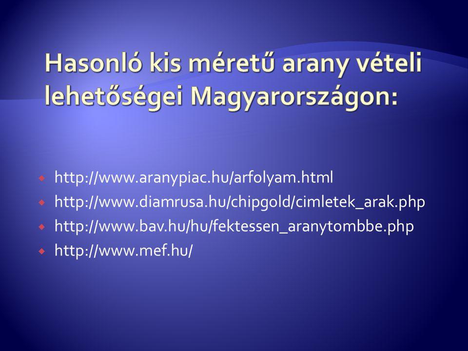  http://www.aranypiac.hu/arfolyam.html  http://www.diamrusa.hu/chipgold/cimletek_arak.php  http://www.bav.hu/hu/fektessen_aranytombbe.php  http://