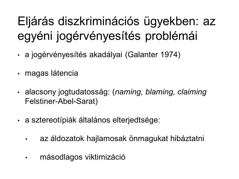 Eljárás diszkriminációs ügyekben: az egyéni jogérvényesítés problémái a jogérvényesítés akadályai (Galanter 1974) magas látencia alacsony jogtudatosság: (naming, blaming, claiming Felstiner-Abel-Sarat) a sztereotípiák általános elterjedtsége: az áldozatok hajlamosak önmagukat hibáztatni másodlagos viktimizáció