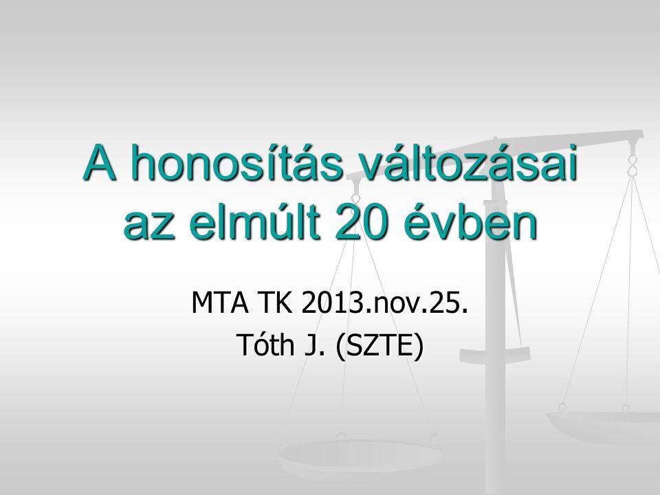 A honosítás változásai az elmúlt 20 évben MTA TK 2013.nov.25. Tóth J. (SZTE)