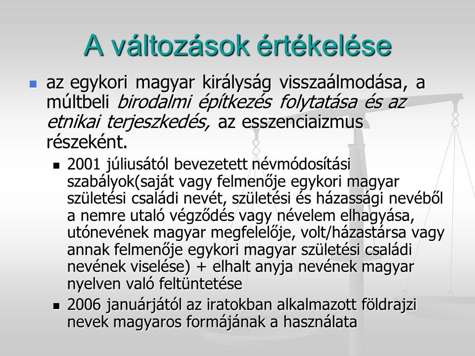 A változások értékelése az egykori magyar királyság visszaálmodása, a múltbeli birodalmi építkezés folytatása és az etnikai terjeszkedés, az esszencia
