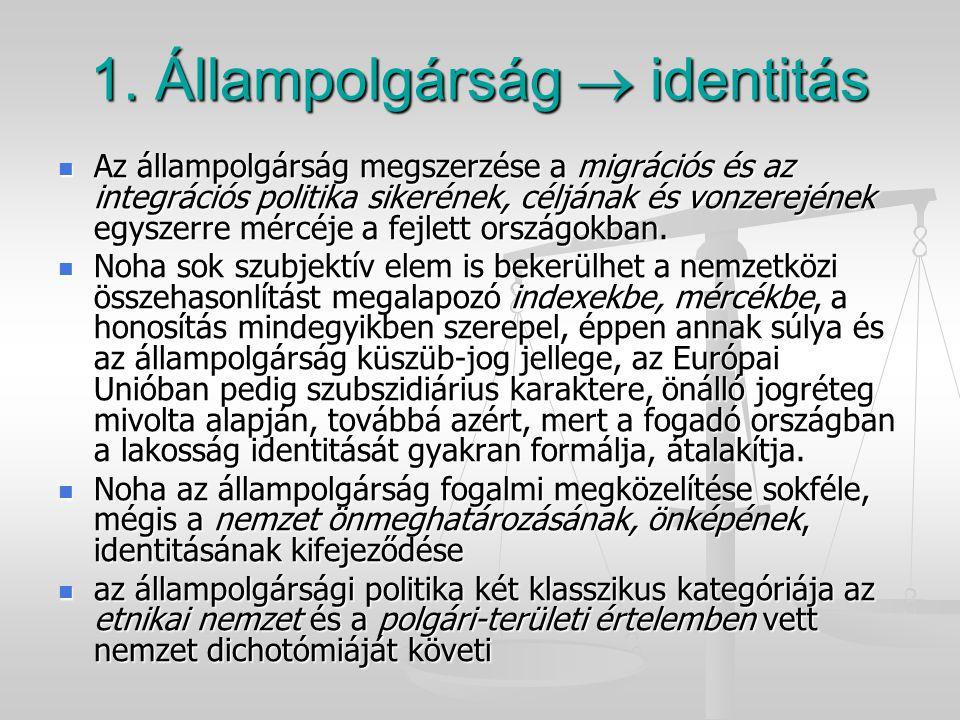 1. Állampolgárság  identitás Az állampolgárság megszerzése a migrációs és az integrációs politika sikerének, céljának és vonzerejének egyszerre mércé