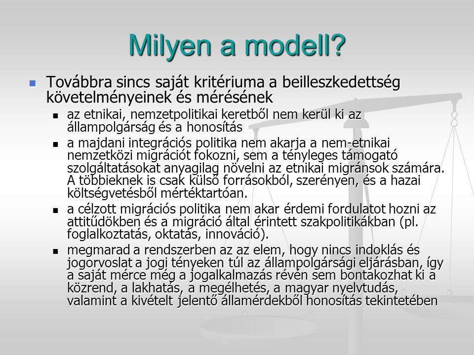 Milyen a modell? Továbbra sincs saját kritériuma a beilleszkedettség követelményeinek és mérésének Továbbra sincs saját kritériuma a beilleszkedettség