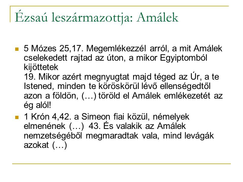 Ézsaú leszármazottja: Amálek 5 Mózes 25,17.