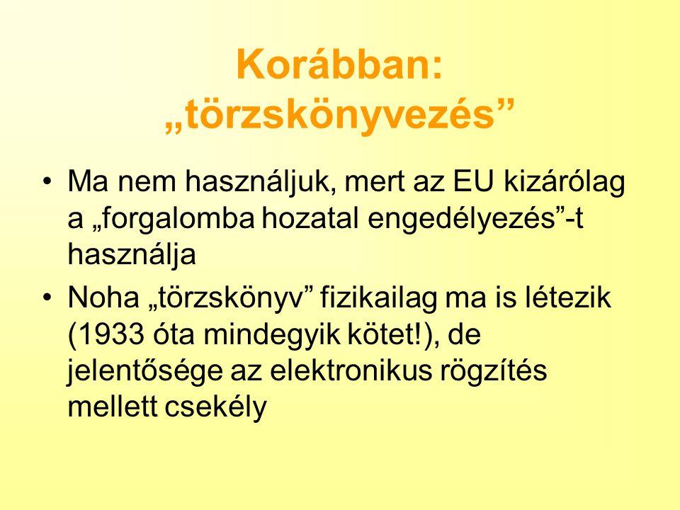 """Korábban: """"törzskönyvezés"""" Ma nem használjuk, mert az EU kizárólag a """"forgalomba hozatal engedélyezés""""-t használja Noha """"törzskönyv"""" fizikailag ma is"""