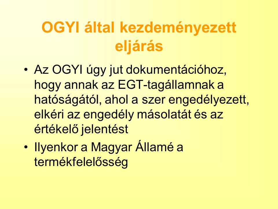 OGYI által kezdeményezett eljárás Az OGYI úgy jut dokumentációhoz, hogy annak az EGT-tagállamnak a hatóságától, ahol a szer engedélyezett, elkéri az e