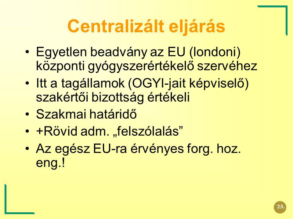 Centralizált eljárás Egyetlen beadvány az EU (londoni) központi gyógyszerértékelő szervéhez Itt a tagállamok (OGYI-jait képviselő) szakértői bizottság