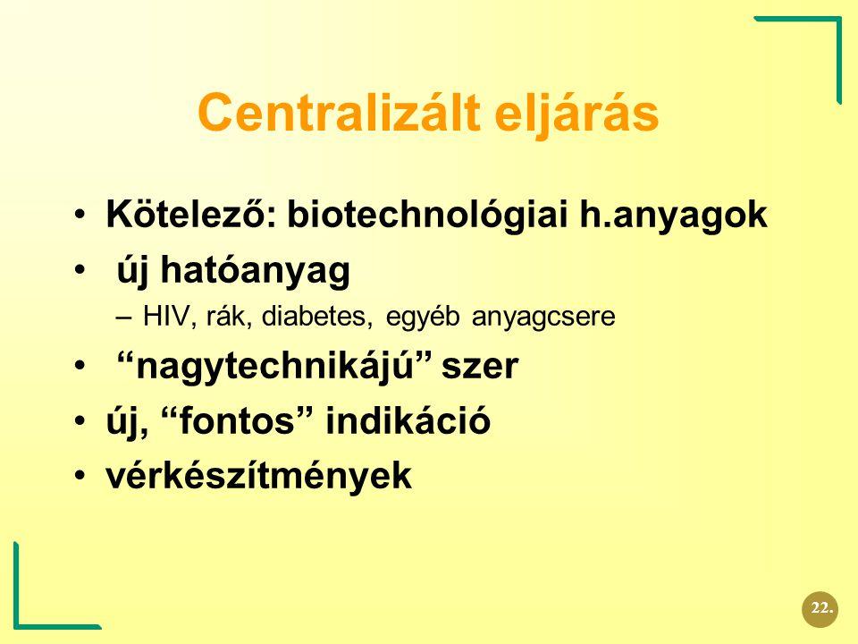 """Centralizált eljárás Kötelező: biotechnológiai h.anyagok új hatóanyag –HIV, rák, diabetes, egyéb anyagcsere """"nagytechnikájú"""" szer új, """"fontos"""" indikác"""
