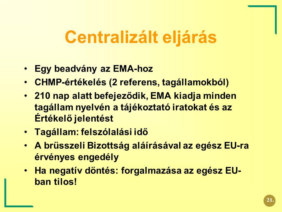 Centralizált eljárás Egy beadvány az EMA-hoz CHMP-értékelés (2 referens, tagállamokból) 210 nap alatt befejeződik, EMA kiadja minden tagállam nyelvén