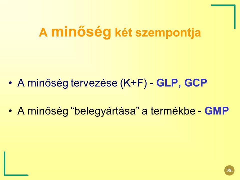 """A minőség két szempontja A minőség tervezése (K+F) - GLP, GCP A minőség """"belegyártása"""" a termékbe - GMP 38."""