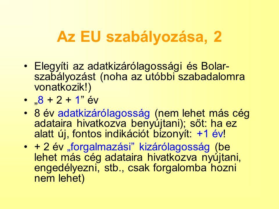"""Az EU szabályozása, 2 Elegyíti az adatkizárólagossági és Bolar- szabályozást (noha az utóbbi szabadalomra vonatkozik!) """"8 + 2 + 1"""" év 8 év adatkizáról"""