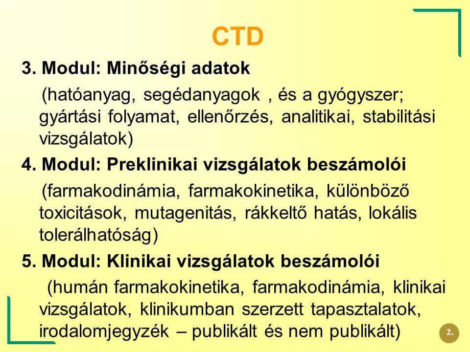 CTD 3. Modul: Minőségi adatok (hatóanyag, segédanyagok, és a gyógyszer; gyártási folyamat, ellenőrzés, analitikai, stabilitási vizsgálatok) 4. Modul: