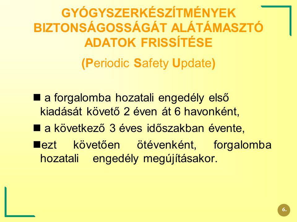 GYÓGYSZERKÉSZÍTMÉNYEK BIZTONSÁGOSSÁGÁT ALÁTÁMASZTÓ ADATOK FRISSÍTÉSE (Periodic Safety Update) a forgalomba hozatali engedély első kiadását követő 2 év