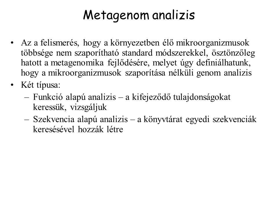 Metagenom analizis Az a felismerés, hogy a környezetben élő mikroorganizmusok többsége nem szaporítható standard módszerekkel, ösztönzőleg hatott a me