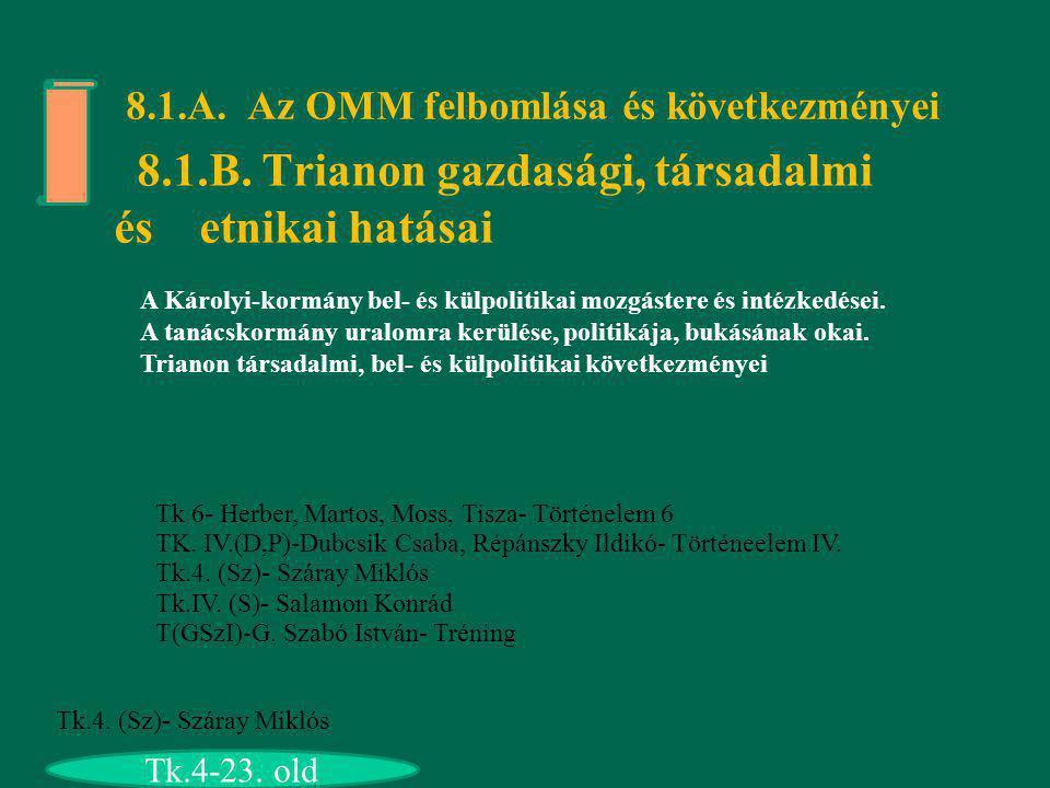 8.1.A. Az OMM felbomlása és következményei 8.1.B. Trianon gazdasági, társadalmi és etnikai hatásai A Károlyi-kormány bel- és külpolitikai mozgástere é
