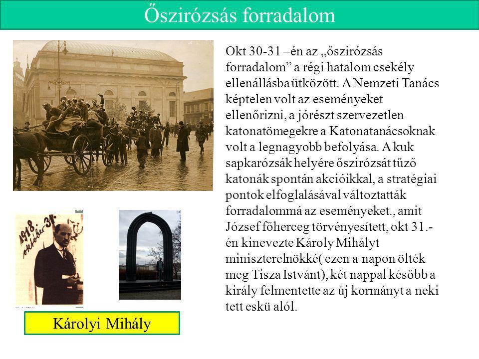 """Őszirózsás forradalom Okt 30-31 –én az """"őszirózsás forradalom"""" a régi hatalom csekély ellenállásba ütközött. A Nemzeti Tanács képtelen volt az esemény"""
