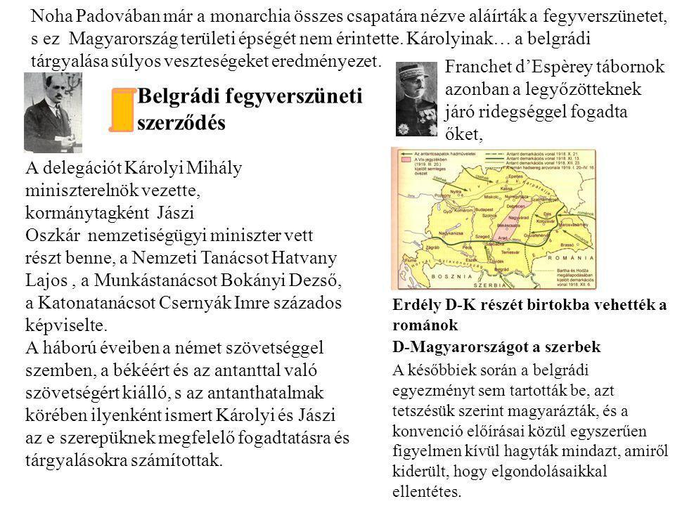 Belgrádi fegyverszüneti szerződés Erdély D-K részét birtokba vehették a románok D-Magyarországot a szerbek A delegációt Károlyi Mihály miniszterelnök