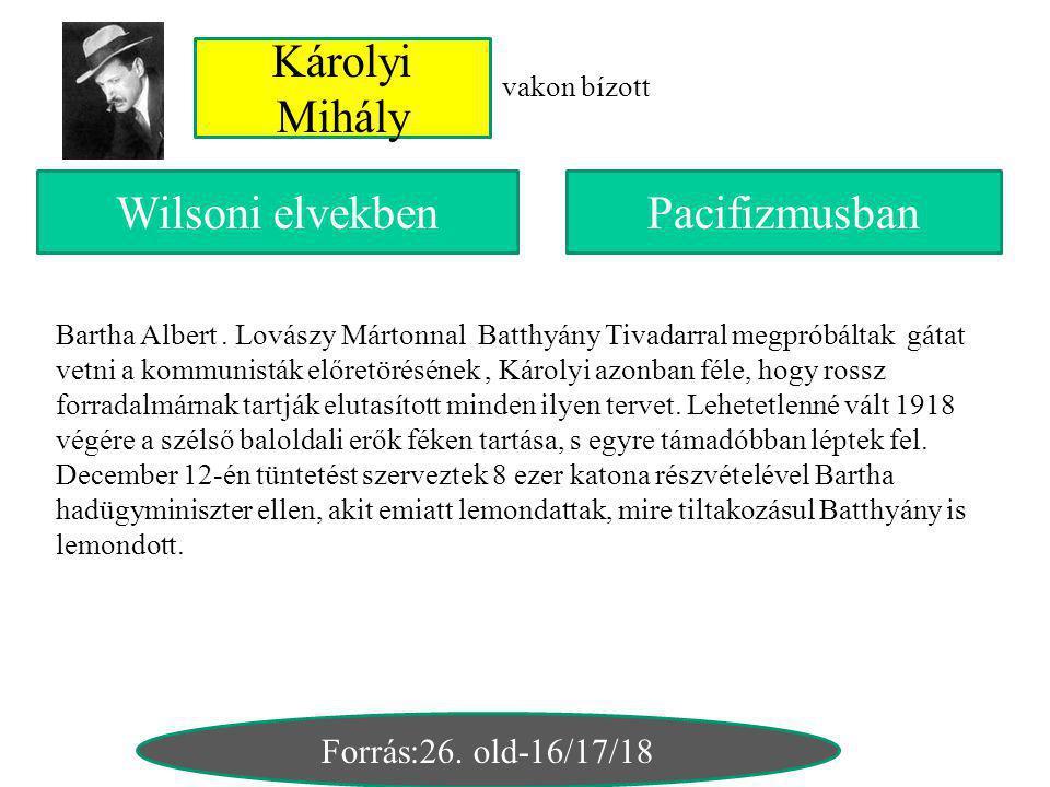 Károlyi Mihály vakon bízott PacifizmusbanWilsoni elvekben Forrás:26. old-16/17/18 Bartha Albert. Lovászy Mártonnal Batthyány Tivadarral megpróbáltak g