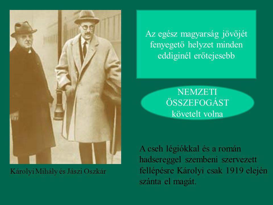 Károlyi Mihály és Jászi Oszkár Az egész magyarság jövőjét fenyegető helyzet minden eddiginél erőtejesebb NEMZETI ÖSSZEFOGÁST követelt volna A cseh lég