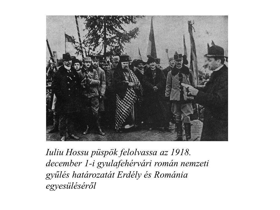 Iuliu Hossu püspök felolvassa az 1918. december 1-i gyulafehérvári román nemzeti gyűlés határozatát Erdély és Románia egyesüléséről