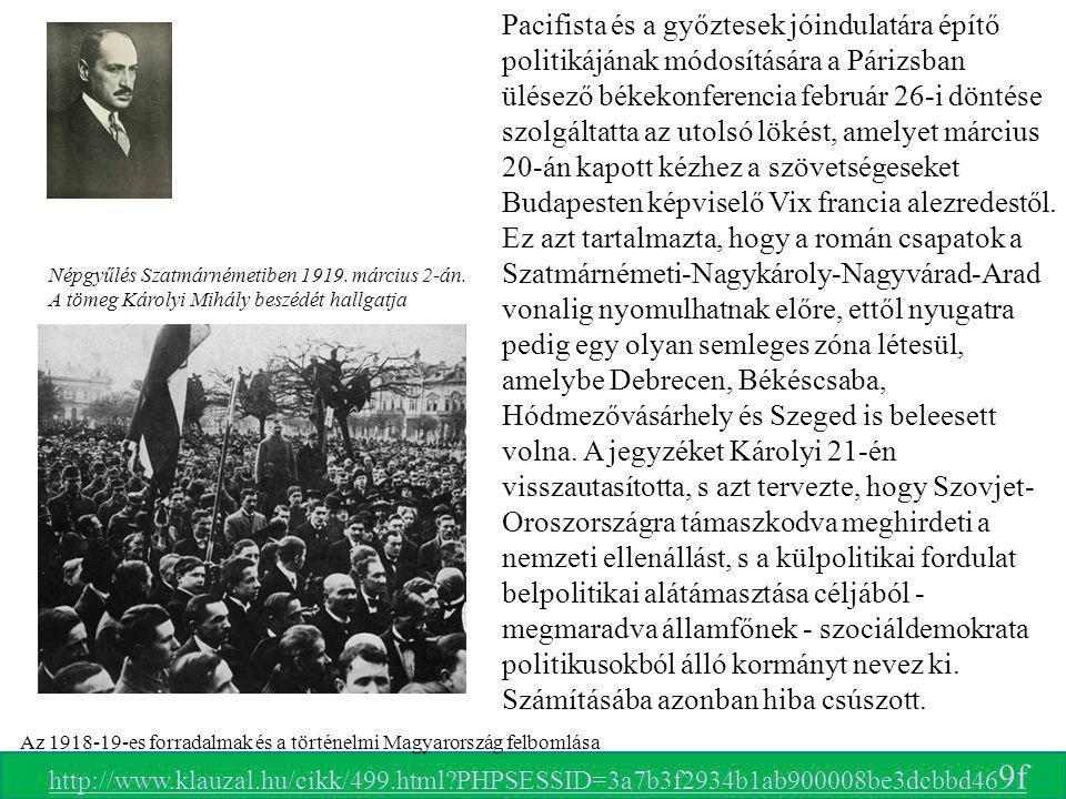 Népgyűlés Szatmárnémetiben 1919. március 2-án. A tömeg Károlyi Mihály beszédét hallgatja Pacifista és a győztesek jóindulatára építő politikájának mód