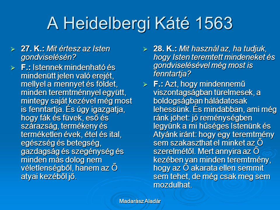 Madarász Aladár A Heidelbergi Káté 1563  27. K.: Mit értesz az Isten gondviselésén?  F.: Istennek mindenható és mindenütt jelen való erejét, mellyel
